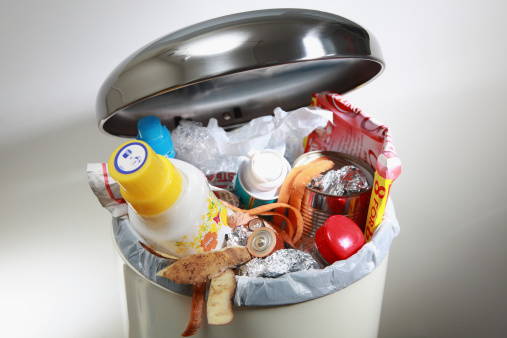 Image result for full trash can in the kitchen images