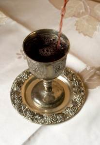 Kiddush cup and wine